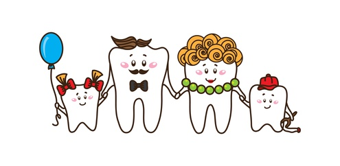 Family of the teeth on white background. Vector characters.